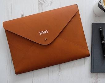 A4 MONOGRAM Leather Document Holder Portfolio Folio Case Letter Paper Folder Custom Personalized - Tan