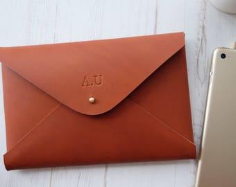 iPad mini MONOGRAM leather sleeve - handmade custom tablet cover - Tan