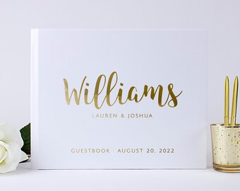 Gold Foil Wedding Guest Book Alternative Custom Wedding Guestbook Unique Modern Wedding Guest Book Gold Silver Copper Foil Ideas Book