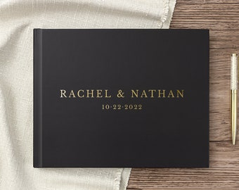 Wedding Guest Book Wedding Guestbook Horizontal Landscape Guest Book Gold Foil Personalized Hardcover Guest Book Photo Album