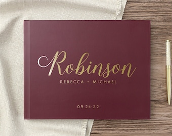 Wedding Guest Book Custom Wedding Guestbook Personalized Sign in Photo Album Gold Foil Burgundy Maroon, Colors Available