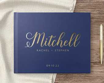 Wedding Guest Book Real Gold Foil Hardcover Landscape Guestbook Personalized Navy Gold Wedding Album, Colors Available
