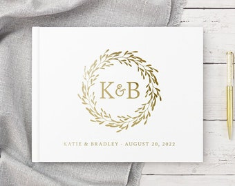 Wedding Guest Book Wedding Guestbook Landscape White Gold Foil Custom Monogram Personalized Hardcover Photo Album, Colors Available