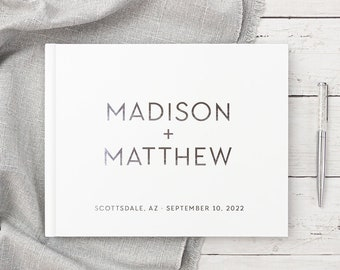 Wedding Guest Book Wedding Guestbook Personalized Silver Foil Hardcover Photo Guest Book Modern Minimalist