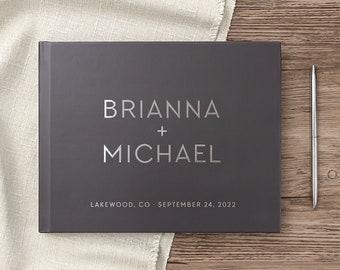 Wedding Guest Book Real Silver Foil Landscape Horizontal Wedding Book Modern Calligraphy Names, Hardcover Gray Wedding Album
