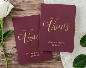 Real Foil Wedding Vow Books, Personalized Wedding Vow Book Set, Bride and Groom Vows, Vow Booklets, Gold Foil, Colors Available