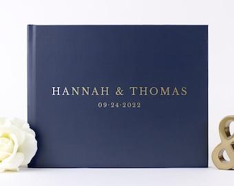 Gold Foil Wedding Guest Book Landscape Alternative Custom Wedding Guestbook, Rustic Wedding Sign in Book Ideas, Wedding Album