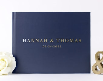 Gold Foil Guest Book, Navy and Gold Wedding Guest Book, Navy Blue and Gold Custom Hardcover Guestbook, Silver Rose Gold Foil Options