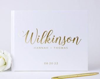 Wedding Guest Book Wedding Guestbook Personalized Gold Foil Hardcover Photo Guest Book Custom Photo Booth Wedding Album