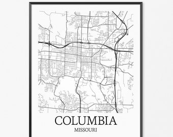Map Of Columbia Sc Columbia Map Columbia Poster Office Etsy