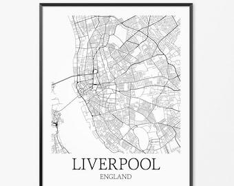 Liverpool Map Print Liverpool England Map Art United | Etsy