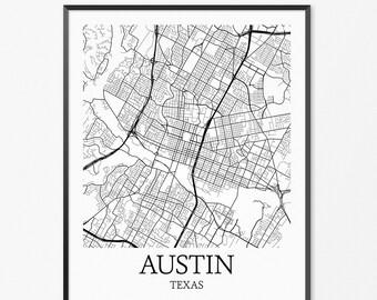 Austin City Map Austin City Poster Austin City Print | Etsy