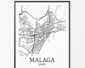 Items Similar To Malaga Map Malaga Spain Map Print Malaga Spain Map
