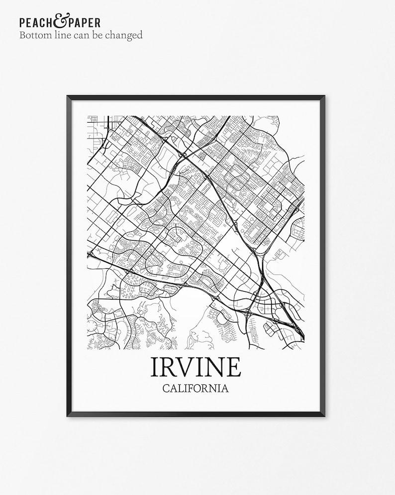 Irvine Map Art Print, Irvine Poster Map of Irvine Decor, Irvine City Map  Art, Irvine Gift, Irvine California Art Poster