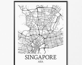 Singapore Map Art Print, Singapore Poster Map of Singapore Decor, Singapore Map Art, Singapore Gift, Singapore Singapore Art Poster