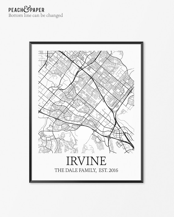 Irvine Map Art Print, Irvine Poster Map of Irvine Decor, Irvine City Map  Art, Irvine Gift, Irvine California Art Poster