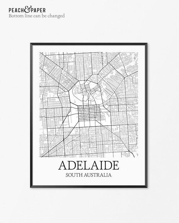 Adelaide map art print adelaide poster map of adelaide decor