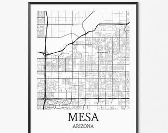 Mesa Map Art Print, Mesa Poster Map of Mesa Decor, Mesa City Map Art, Mesa Gift, Mesa Arizona Art Poster