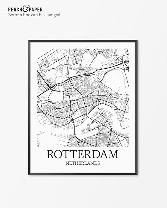Rotterdam Map Art Print Rotterdam Poster Map of Rotterdam | Etsy