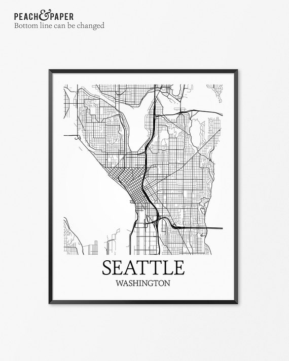 Seattle Map Art Print Seattle Poster Map Of Seattle Decor Etsy