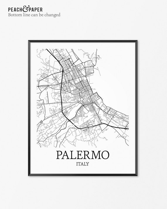 Palermo Map Art Print Palermo Poster Map Of Palermo Decor Etsy