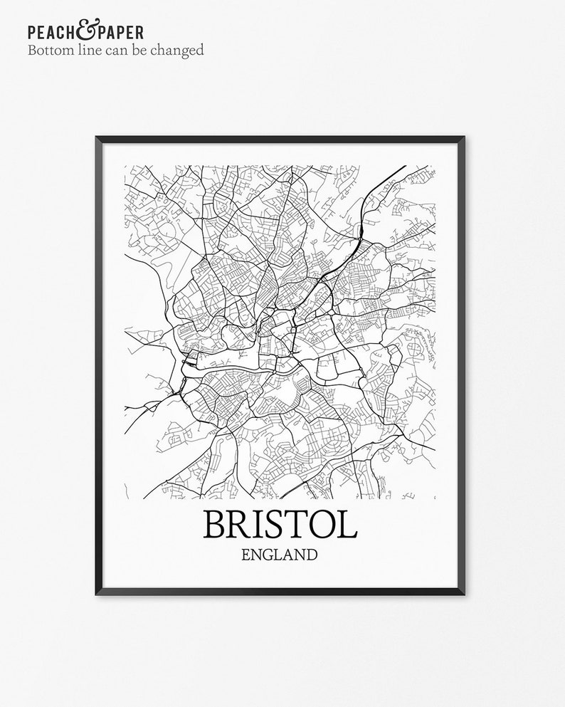 Bristol On The Map Of England.Bristol Map Art Print Bristol Poster Map Of Bristol Decor Bristol City Map Art Bristol Gift Bristol England Art Poster