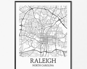 Raleigh Map Art Print, Raleigh Poster Map of Raleigh Decor, Raleigh City Map Art, Raleigh Gift, Raleigh North Carolina Art Poster