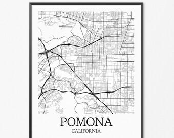 Pomona Map Art Print, Pomona Poster Map of Pomona Decor, Pomona City Map Art, Pomona Gift, Pomona California Art Poster