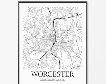 Worcester Map Art Print, Worcester Poster Map of Worcester Decor, Worcester City Map Art, Worcester Gift, Worcester Massachusetts Art Poster