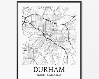 Durham Map Art Print, Durham Poster Map of Durham Decor, Durham City Map Art, Durham Gift, Durham North Carolina Art Poster