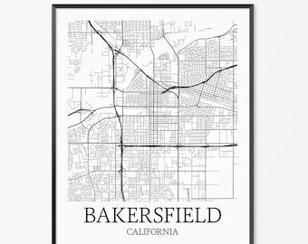 Bakersfield Map Art Print, Bakersfield Poster Map of Bakersfield Decor, Bakersfield City Map Art, Bakersfield Gift, Bakersfield Art Poster