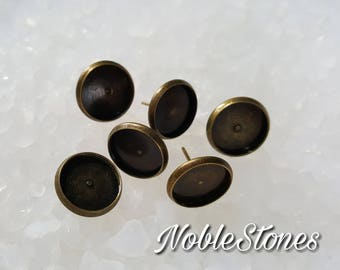 Earring, setting, CabochonOhrstecker frames for 12 mm cabochons, 6 pieces (3 pairs), bronze