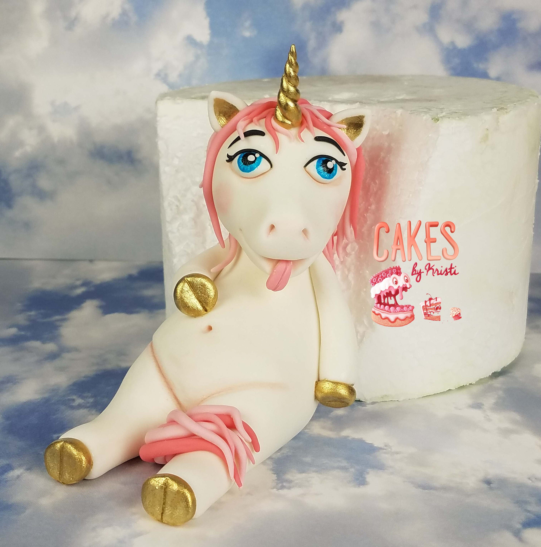 Fat Unicorn Fondant Cake Topper MADE TO ORDER | Etsy