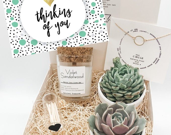 Thinking of You Gift Box Personalized Succulent Gift Box |  Candle | Send a Gift | Customize