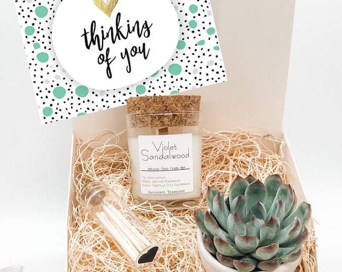 Thinking of you Personalized Succulent Gift Box Set |  Candle Succulent Treasures