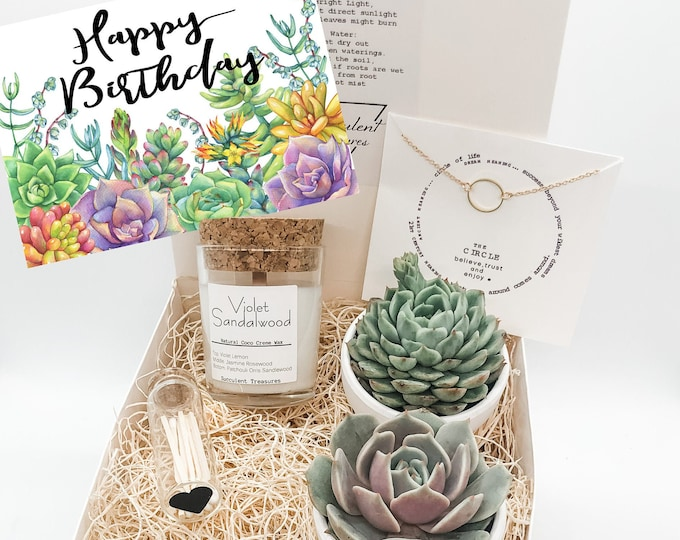 Birthday Gift Box Succulent Gift Box Set |  Candle | Send a Gift | Customize