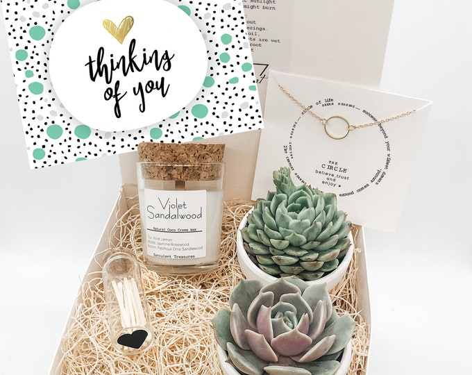 Featured listing image: Thinking of You Gift Box Personalized Succulent Gift Box |  Candle | Send a Gift | Customize