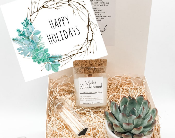 Custom Succulent Box Gift Set |  Candle |  Live Plant Wood planter Box