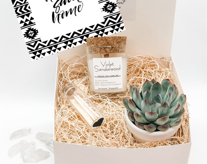 New Home Housewarming Personalized Succulent Gift Box Set |  Candle |  Custom gift basket