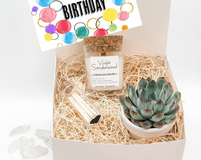 Personalized Happy Birthday Succulent Gift Box Set |  Candle | Plant Send a Gift Customize