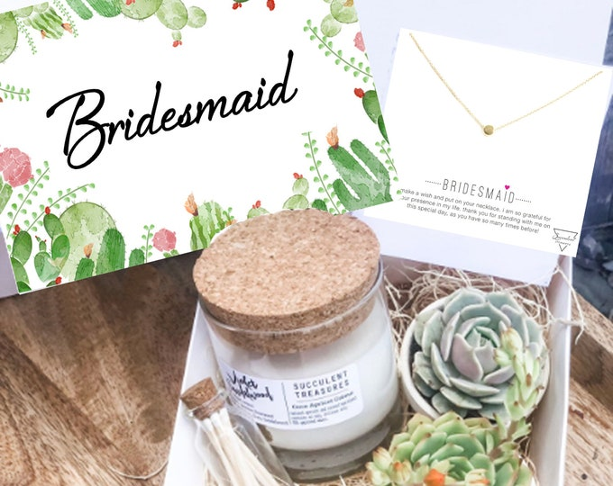Bridesmaid Gift Box Personalized Succulent Gift Box |  Candle | Send a Gift | Customize Wedding Gift