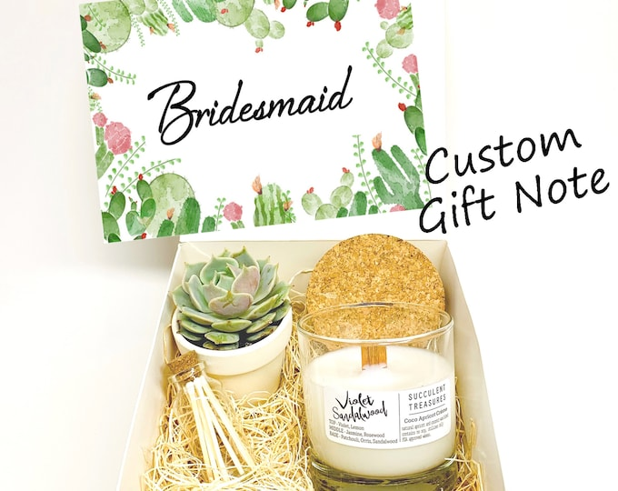 Bridesmaid Personalized Succulent Gift Box Set |  Candle | Wedding favor Gift
