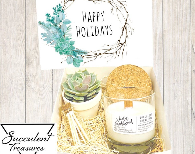 Christmas Succulent Box Gift Set |  Candle |  Custom Gift