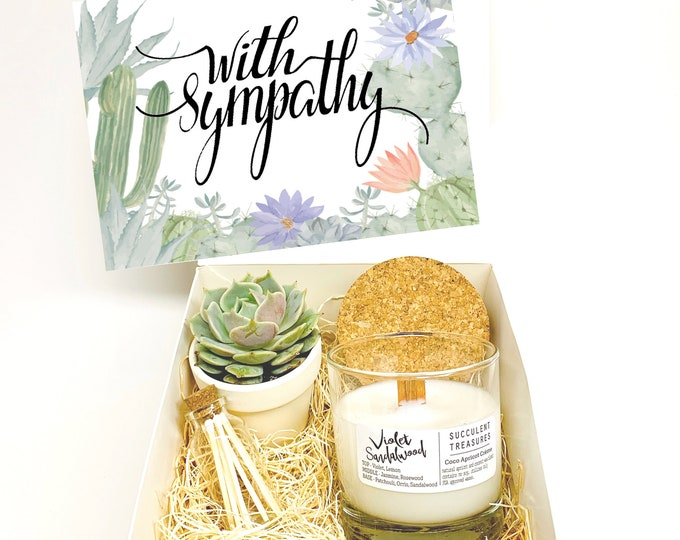 Sympathy Personalized Succulent Gift Box Set |  Candle