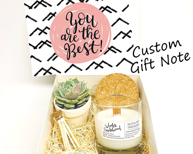 Friend Personalized Succulent Gift Box Set |  Candle | thank you gift