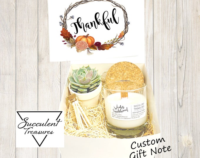 Thankful Fall Personalized Succulent Gift Box Set |  Candle |  Custom Thanksgiving