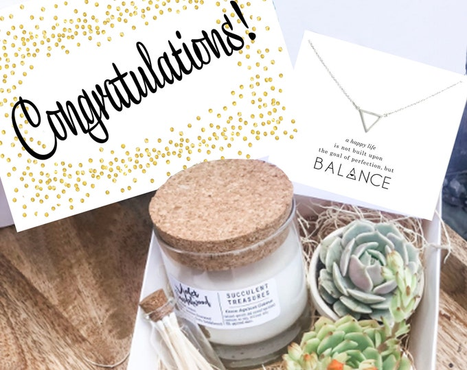 Congratulations Gift Box Personalized Succulent Congrats Gift Box |  Candle | Send a Gift | Customize