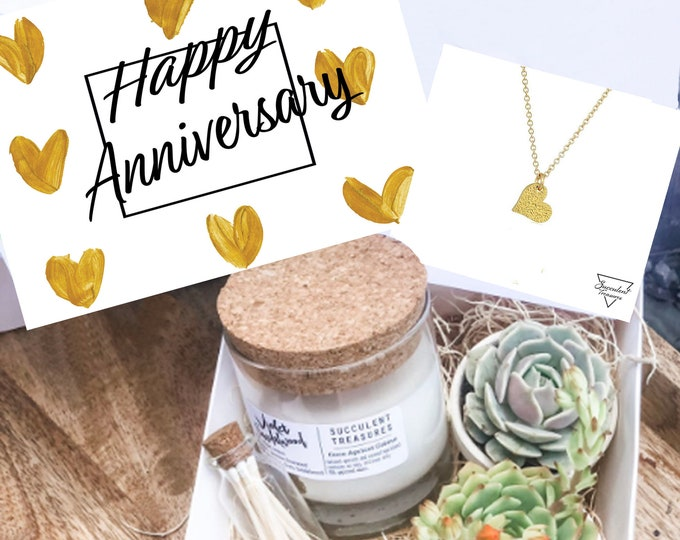 Anniversary Gift Box Personalized Succulent Gift Box |  Candle | Send a Gift | Customize