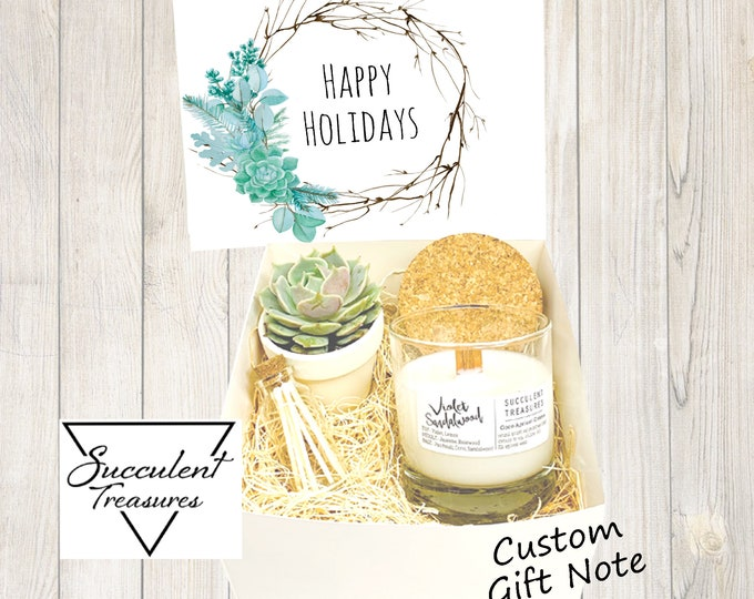 Happy Holidays Personalized Succulent Gift Box Set |  Candle |  Custom Gift