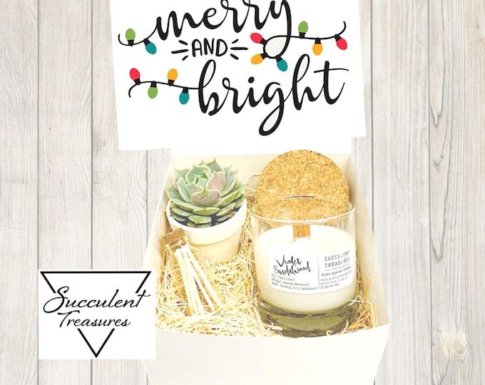 Christmas Succulent Box Gift Set |  Candle |  Custom Gift